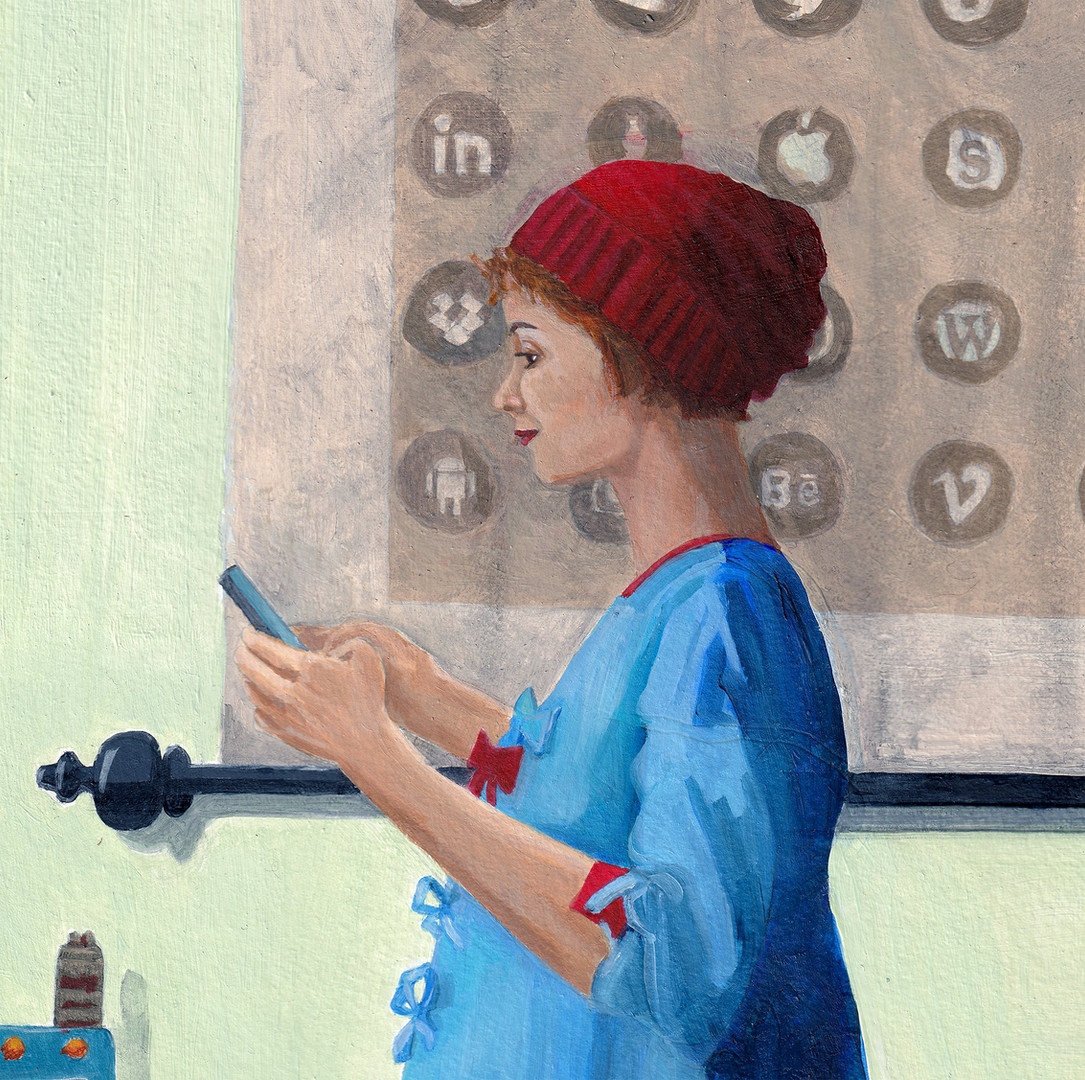 Reading a text.  detail 1