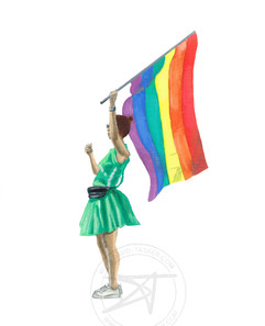 pride girl with flag.