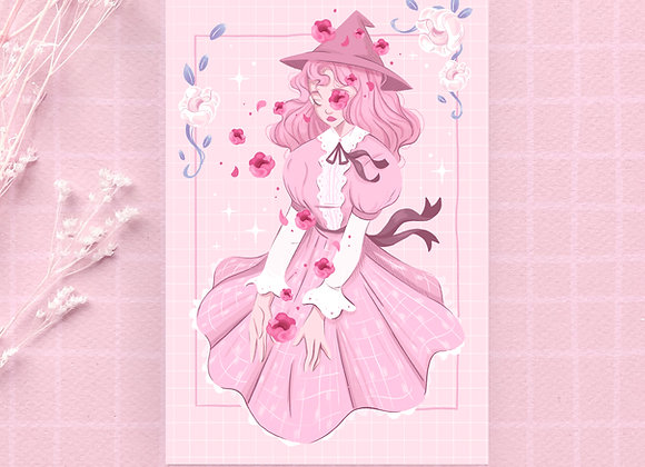 Postcard - Pink witch