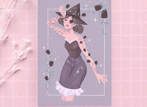 Postcard - Black witch