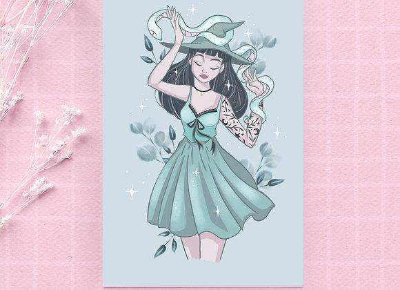Carte postale - Sorcière verte