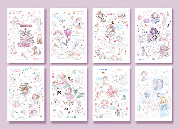 Lot complet - Carte postale - Ghibli inspiration