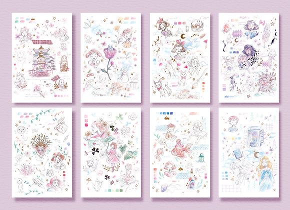 Complete set - Postcard - Ghibli inspiration
