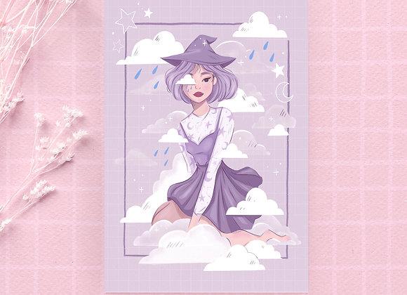 Carte postale - Sorcière mauve