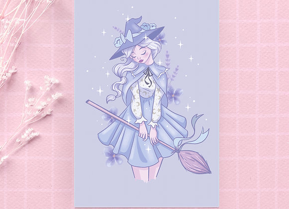 Postcard - Blue witch