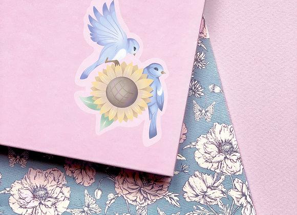 Sticker - Oiseaux bleus