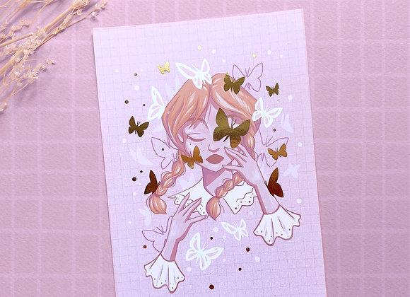 Carte postale - Anne papillons