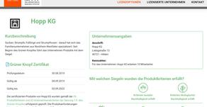 Grüner Knopf jetzt bei RAL: Die Hopp KG und alle weiteren Teilnehmer sind jetzt abrufbar