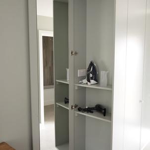 Cupboard, hair dryer, iron