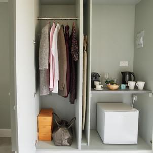 Wardrobe, Coffee and Tea making facilities, ironing board