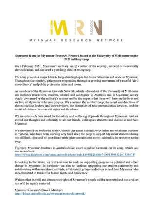 Statement from the Myanmar Research Network based at the University of Melbourne on the 2021 militar