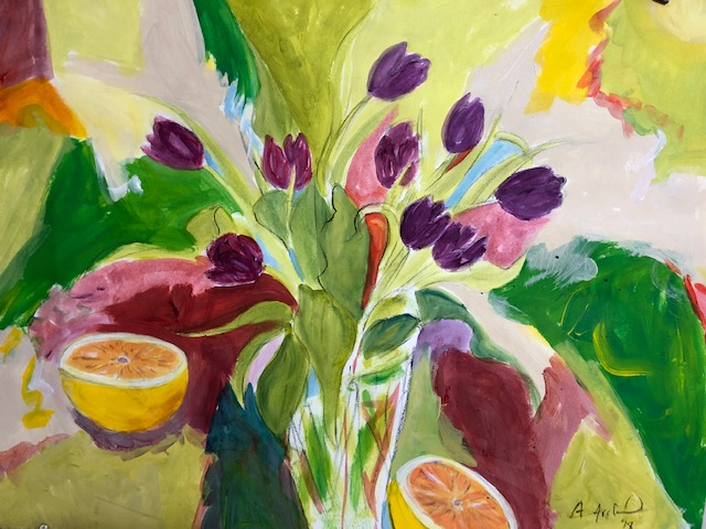 Purple Tulips with Grapefruit