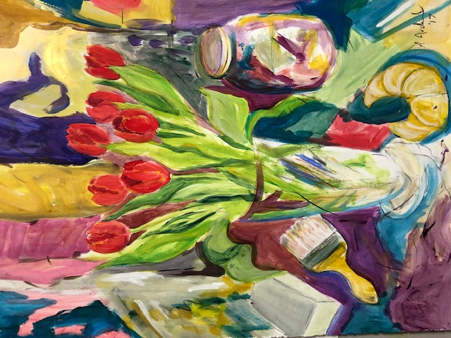 Red Tulips with Croissant