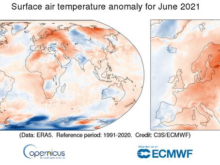 יוני 2021-  הרביעי החם ביותר מתחילת המדידות בעולם