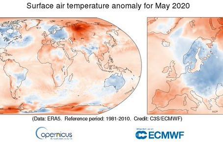 מאי 2020 בעולם-  החם ביותר מתחילת המדידות