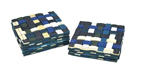 Onderzetters blauw/beige