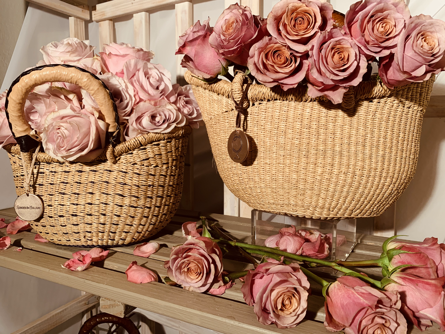 straw baskets with leather handles