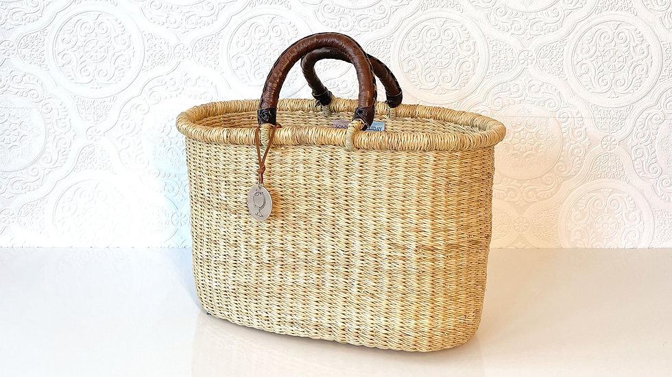 Medium Straw Basket Tote