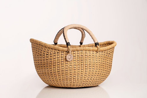 Large Straw Basket with Leather Handels