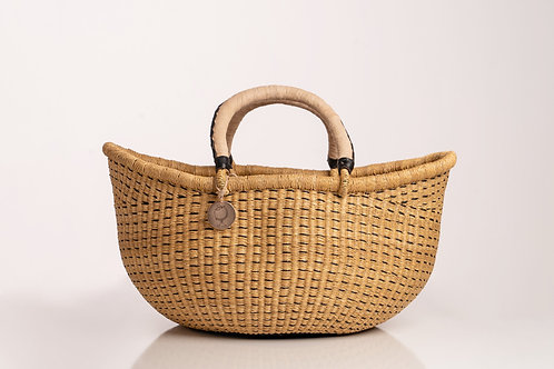 Large sustainable straw bag with handles