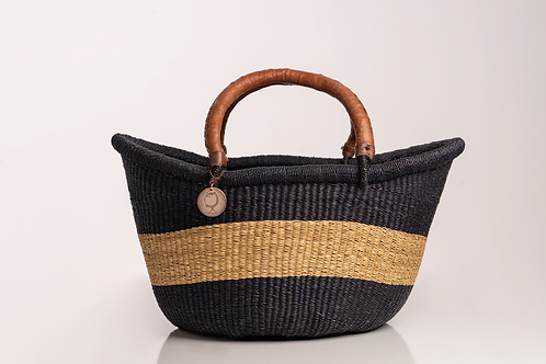 Large straw market basket hand woven with leather handles