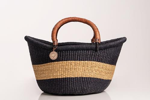 Straw Basket with Leather Handles. Black stripe basket