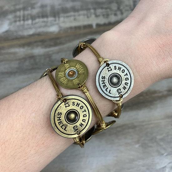 Bourbon and Bowtie Gold Shotgun Shell Gold Bangle