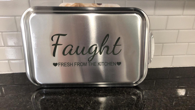 Aluminum baking pan marked with LaserBond 100.  Photo Credit: Blue Lion Products