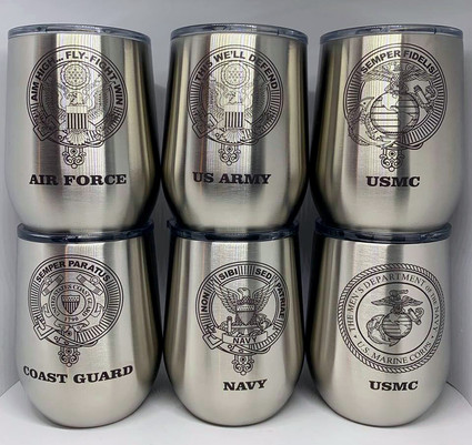 Stainless steel tumblers marked with LaserBond 100.  Photo Credit: JCD Woodworking & Engraving