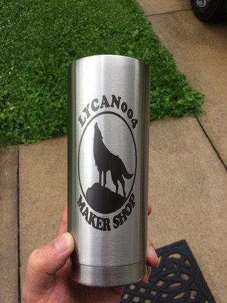 Stainless steel marked with LaserBond 100.  Photo Credit: Lycan004 Maker Shop