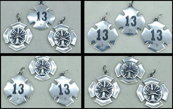Sterling silver James Avery charms for Shell Fire School graduates marked with LaserBond 100.  Photo Credit: Custom Lazer Creations