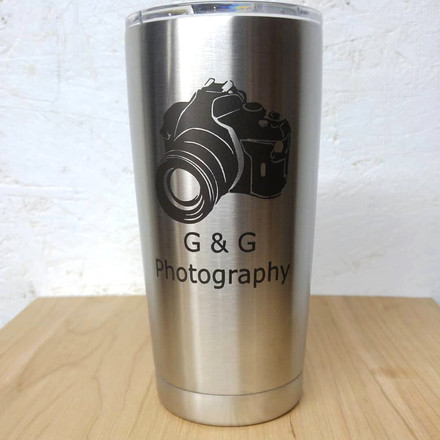 Stainless steel tumbler marked with LaserBond 100.  Photo Credit: Mag's Creations LLC