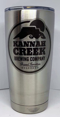 Stainless steel tumbler marked with LaserBond 100.  Photo Credit: JCD Woodworking & Engraving