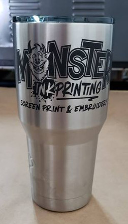 Stainless steel tumbler marked with LaserBond 100.  Photo Credit: Monster Ink Printing