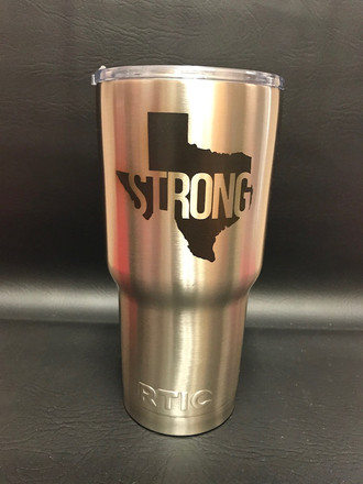 Stainless steel tumbler marked with LaserBond 100.   Photo Credit: Jewelry Services N Gifts
