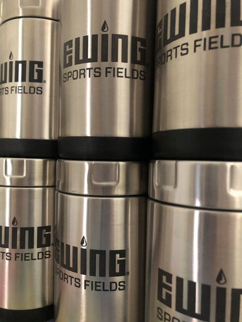 Stainless steel tumblers marked with LaserBond 100.  Photo Credit: Viera Concepts