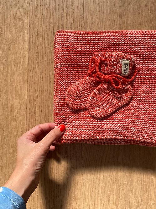 RED Blanket & Booties Set