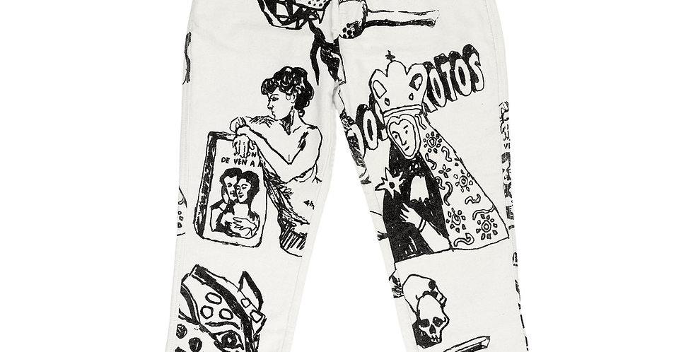 BROKEN FINGAZ X HERMANOS KOUMORI - WHITE DENIM PANTS