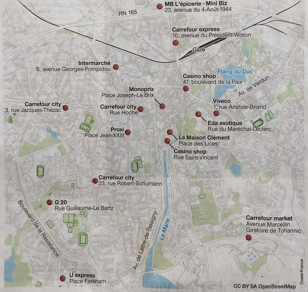 Karte der Lebensmittelhändler in Vannes ,die Sonntag geöffnet sind