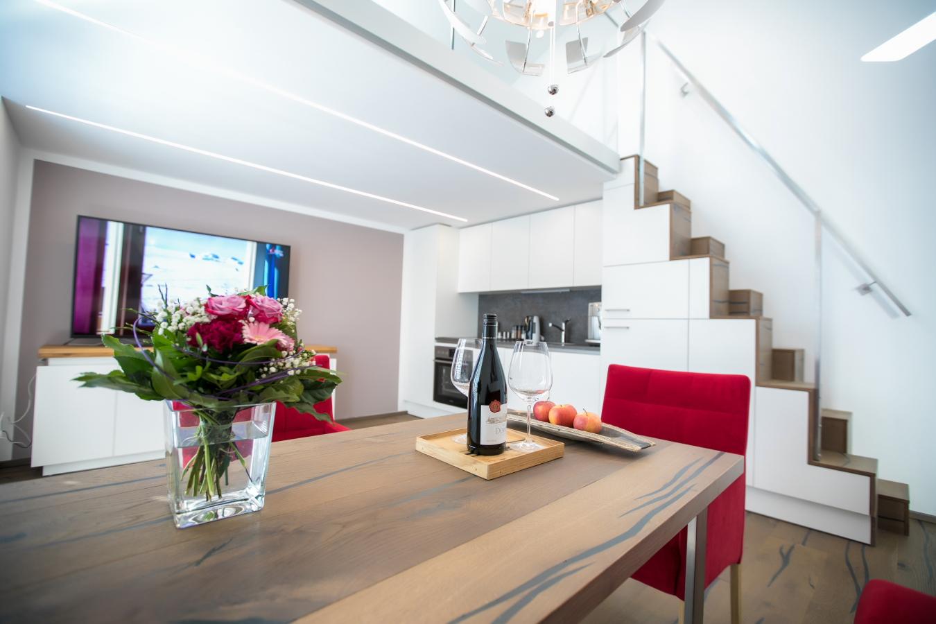 Wohnzimmer mit Blick zur Galerie