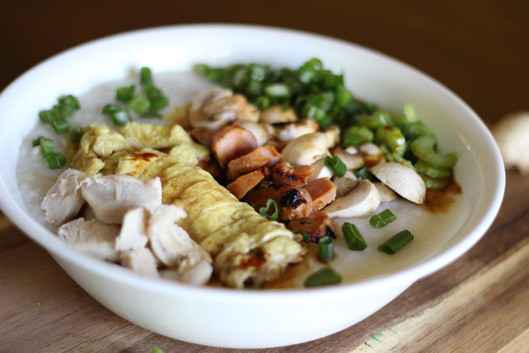 Chicken Rice Porridge (Congee) + Fried Shallot Recipes.