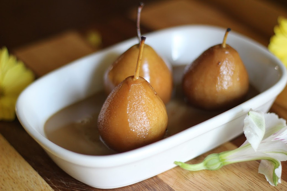 Poached Pears with brown sugar and coconut milk sauce