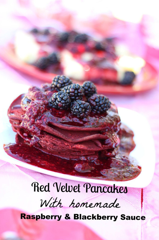 Red Velvet Pancake with Homemade Raspberries & Blackberries Sauce