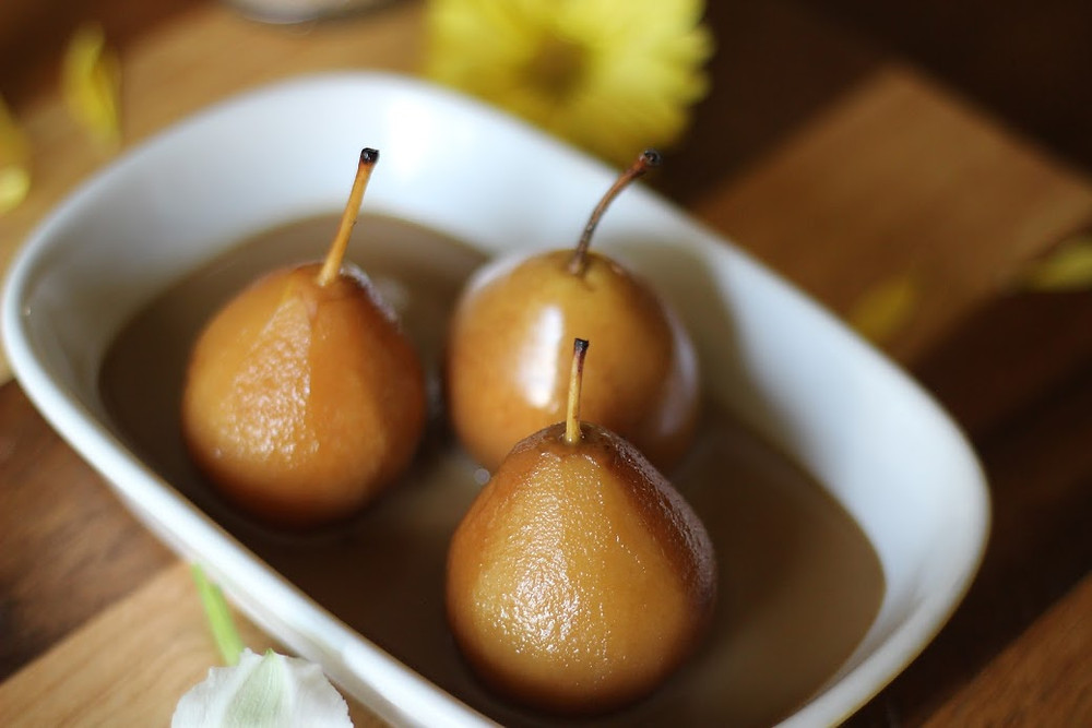 Poahed Pears With Brown Sugar and coconut milk sauce