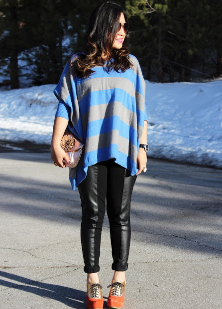 Oversized blouse blue and gray stripe