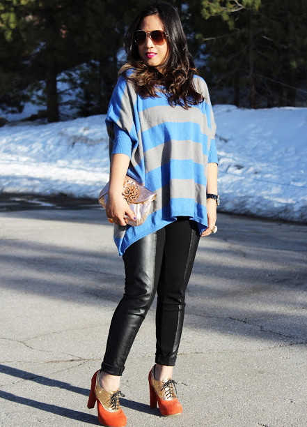 Oversized blouse blue and gray striped