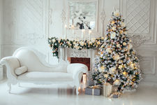 Christmas and New Year decorated interio