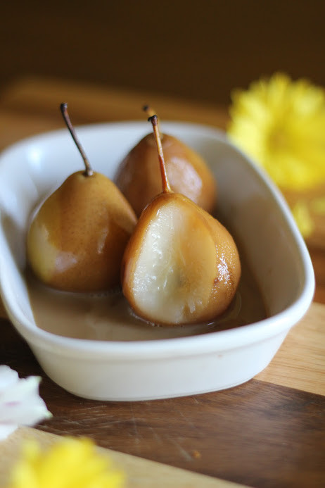 Poached Pears with coconut milk and brown sugar