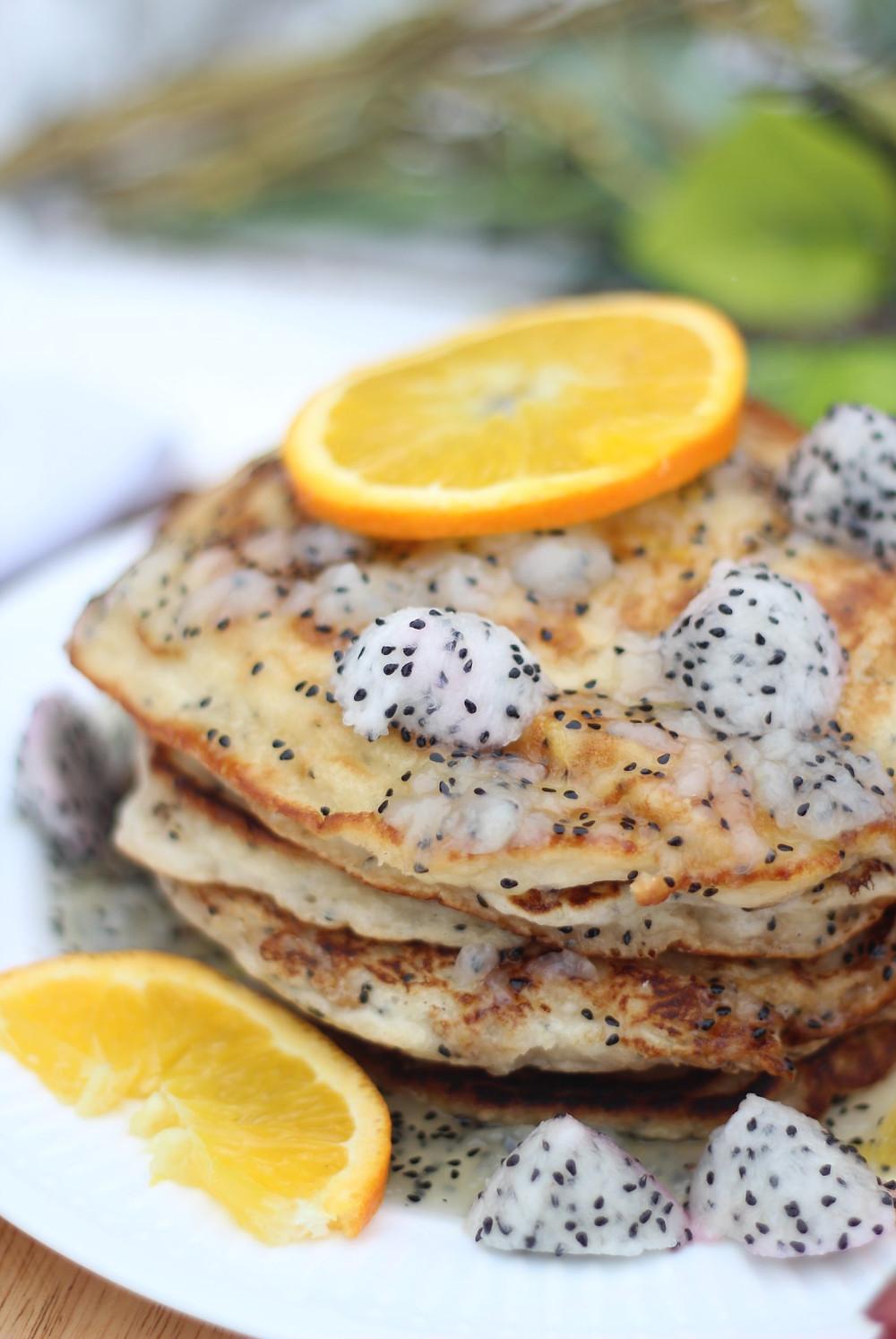 Dragon fruit pancakes