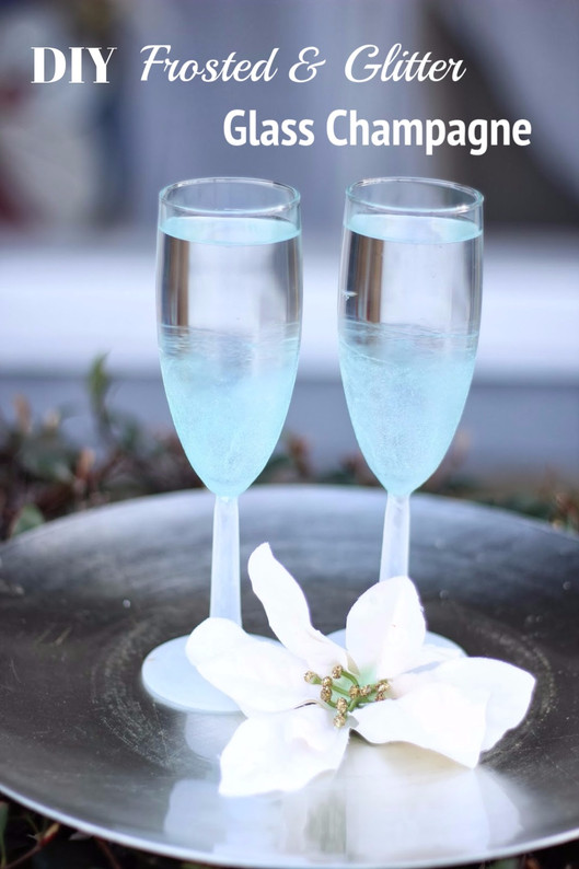 DIY Frosted & Glitter Champagne Glass